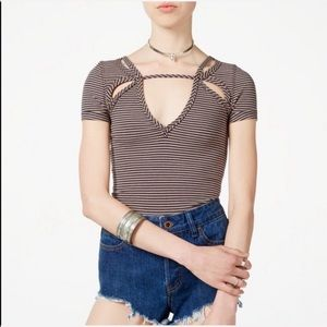 Free People Blue Striped Short Sleeve Top Cutouts